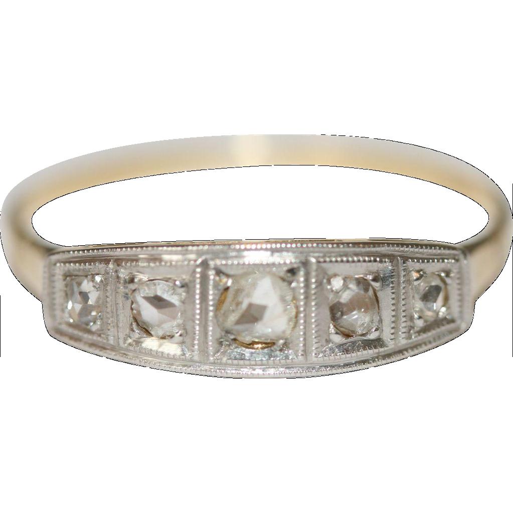 Fine Vintage Art Deco 18 carat gold platinum and rose cut diamond