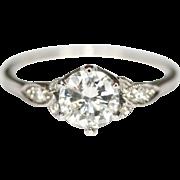 Fine Vintage Art Deco Platinum diamond solitaire engagement ring tcw 0.83 carats - circa 1930