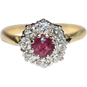 Art Deco 18 Carat Gold Natural Ruby Diamond Cluster Ring