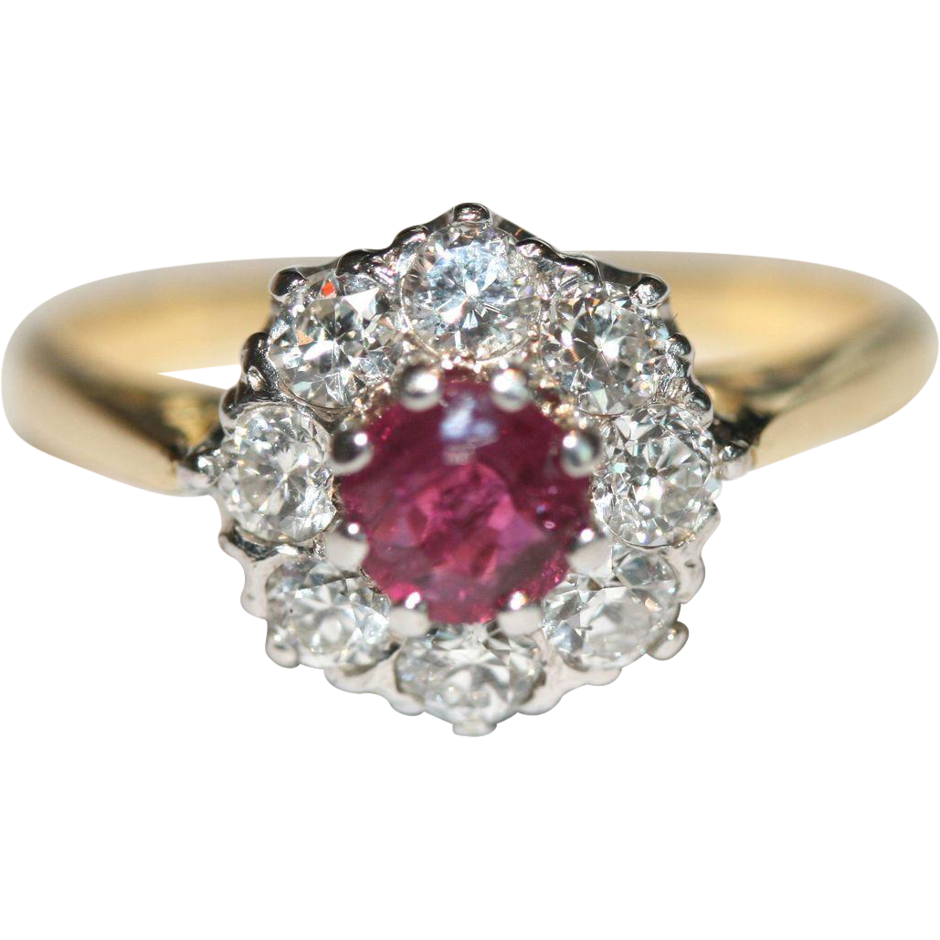 Fine Vintage Art Deco 18 Carat Gold Natural Ruby And Diamond Cluster Ring   Circa 1935