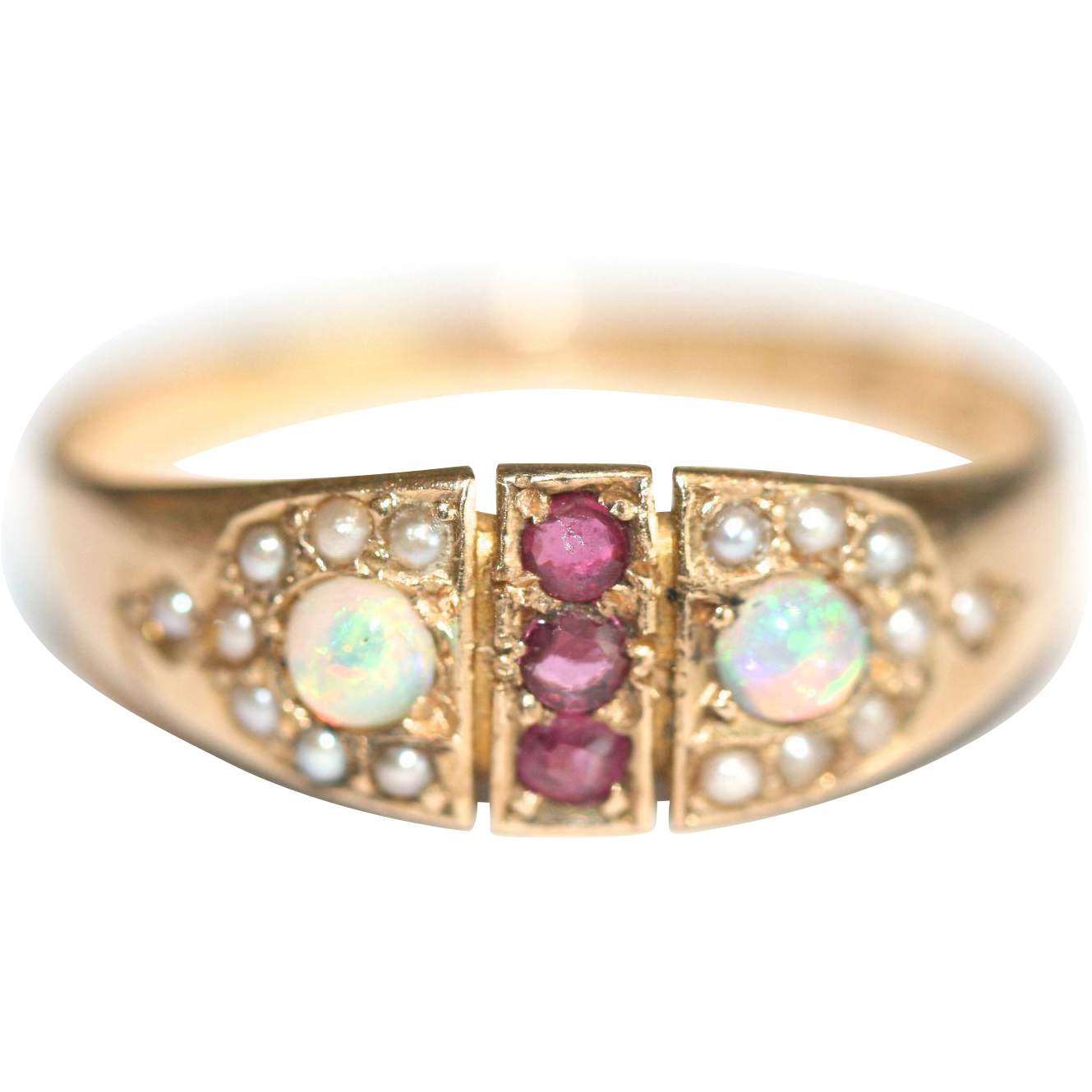 pearls ring seed gold civil node design pearl flower era opal karat antique war