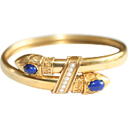 RARE Museum quality Antique Etruscan Revival Victorian 15 carat gold, lapis lazuli and pearl double serpent bangle - circa 1870