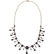 FINE Antique Victorian Gold Silver Set Diamond Amethyst Necklace Earring Set