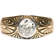 Fine Antique Pre-Revolution Russian Art Nouveau 14 carat gold circa 1 carat diamond ring - circa 1908-1917