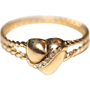 UNIQUE Fine Antique Victorian 18 carat yellow gold and rose cut diamond heart and rope band ring - circa 1880