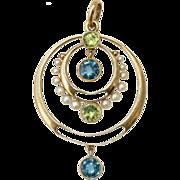 Antique Art Nouveau Edwardian 18 carat gold peridot aquamarine and seed pearl pendant