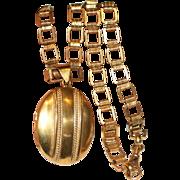 Antique Victorian Pinchbeck Locket Collar Chain Necklace