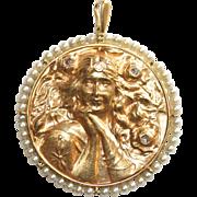 Stunning Large Antique Art Nouveau 18 carat gold, pearl and diamond medallion lady pendant - circa 1900