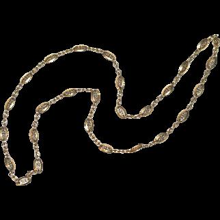 Divine Antique Art Nouveau 24.5 inch 18K yellow gold fancy link chain - circa 1900