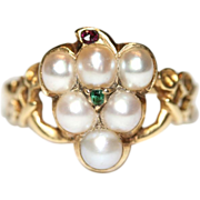 Antique Mid Victorian 18 carat yellow gold Pearl Ruby and Emerald Mourning Grape ring