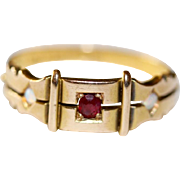 Fine Antique Victorian 15 carat gold, ruby and opal gypsy ring dated 1882