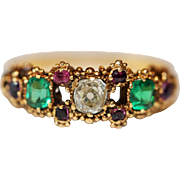*reserved!* Superb and rare Antique late Georgian/early Victorian 18 carat gold, diamond, ruby and green paste ring -circa 1840