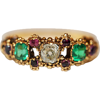 Superb and rare Antique late Georgian/early Victorian 18 carat gold, diamond, ruby and green paste ring -circa 1840
