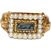 Antique Georgian 18 Carat Gold Pearl Hair Mourning Ring dated 1811 and 1814