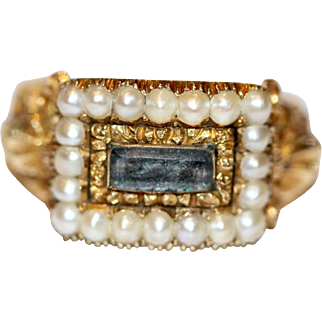 Stunning Antique Georgian 18 carat yellow gold, pearl and woven hair mourning ring with engraving and shell decorated shoulders -dated 1811 and 1814