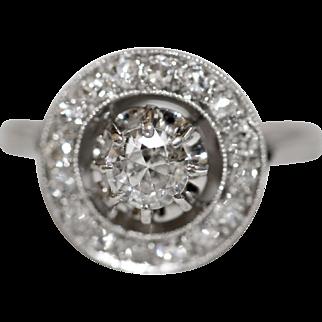 Fine Antique French Platinum old cut diamond halo engagement ring - circa 1915