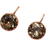 Fine antique Georgian 9 carat rose gold and smoky quartz cufflinks conversion earrings - circa 1780