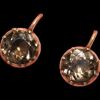 Fine antique Georgian 9 carat rose gold and smoky quartz cufflinks conversion earrings - circa 1780