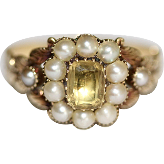 Boxed Fine Antique Georgian 18 carat yellow gold, topaz and pearl cluster ring - circa 1820-1830, English
