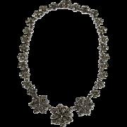 Antique Victorian Cut Steel Floral Necklace