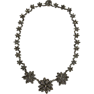 Antique early Victorian cut steel floral necklace - circa 1850-1860, English
