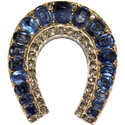 *reserved!* Stunning fine antique Victorian 15 carat gold, natural blue sapphire and rose cut diamond lucky horseshoe brooch pin - English circa 1870-1880