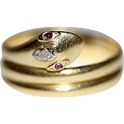 Cheeky Antique Victorian 18 carat yellow gold, old pear cut diamond and ruby eye snake ring - London, England, dated 1869