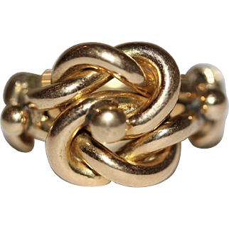 AMAZING Fine Antique 18 carat gold lover's knot ring 11.5 grams - English, 1916, fully hallmarked