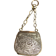 Romantic fine antique Victorian 9 carat yellow gold chased forget-me-not opening purse charm/pendant with plaited hair - English, circa 1870