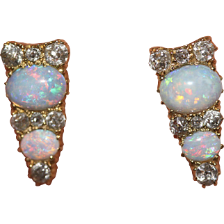 *Reserved for J!* Fine Antique Victorian 18 carat gold, Australian opal and old cut diamond conversion earring studs - circa 1880