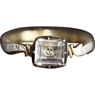 RARE Fine Antique 18th Century Georgian 18 carat yellow gold, white enamel and rock crystal smiling baby skull mourning ring for a Sherbone Griffiths who died in 1771 at 18 months