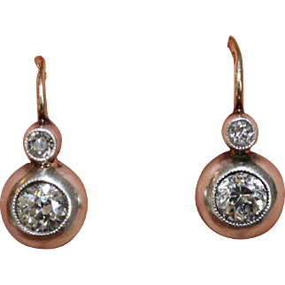 Stunning Fine antique late 19th Century Austro-Hungarian 14 carat yellow gold, silver and old cut diamond drop earrings - est tct 0.64 carats