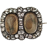 RARE fine antique very late Georgian Duke's and Duchesses coronet keepsake hair and paste brooch - Dated May 1837 - English