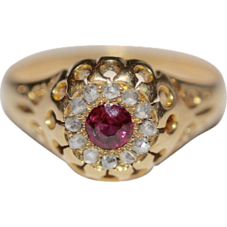 Fine antique pre WWI 18 carat gold, natural ruby and diamond ring - Chester England dated 1912