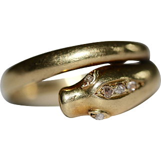 A fine antique Victorian 18 carat gold and rose cut diamond snake ring - English dated 1876