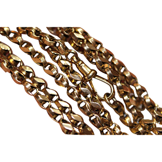 A heavy antique Victorian 9 carat gold fancy link longuard chain - 64 inches 46.7 grams - English circa 1880