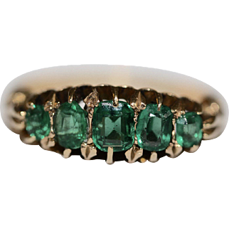 A fine antique Edwardian 18 carat gold and green paste 5 stone half hoop ring - English dated 1907