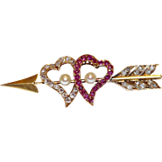 Fine antique Victorian 18 carat gold, natural ruby, rose cut diamond and natural pearl double witches heart and arrow brooch - English circa 1880