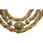 OUTSTANDING Fine Antique Austro-Hungarian 20 carat gold and enamel clasp twisted longuard chain - circa 1824 - 1866
