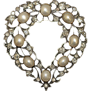 Superb Fine Antique Victorian 18 carat gold, silver, pearl and diamond heart wreath pendant/brooch -  English circa 1880