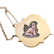Antique Victorian 18 and 14 carat gold, enamel and rose cut diamond Cherub/Cupid brooch and safety chain