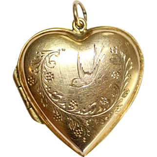 A Fine Antique Victorian 9 Carat Gold Back & Front Swallow And Heart Locket For LOVE - English, Circa 1900