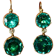 Fine Antique Georgian Gilt Metal Green Paste Drop Earrings