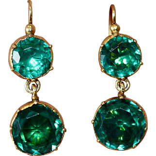 Fine Antique Georgian Gilt Metal Green Paste Drop Conversion Earrings with 9 carat gold hooks - English, circa 1800