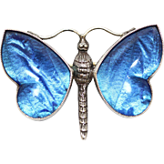 A Fine Antique Art Nouveau Sterling Silver and Blue Butterfly Wing Butterfly Brooch Pin, English circa 1910