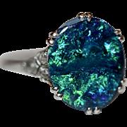 OUTSTANDING Antique Edwardian Platinum Natural Black Opal Diamond Ring
