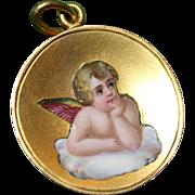 Antique Gold Enamel Angel Pendant dated 1912