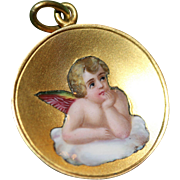 Antique Gold Enamel Angel Christmas Eve Pendant dated 1912