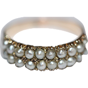 Antique Georgian Gold Pearl Half Hoop Ring