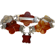 Antique Scottish Victorian Silver Agate Bracelet